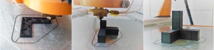 Druckverlauf beim FDM-3D-Druck vom Druckbeginn über den Druck selbst bis zum fertigen Druckergebnis.